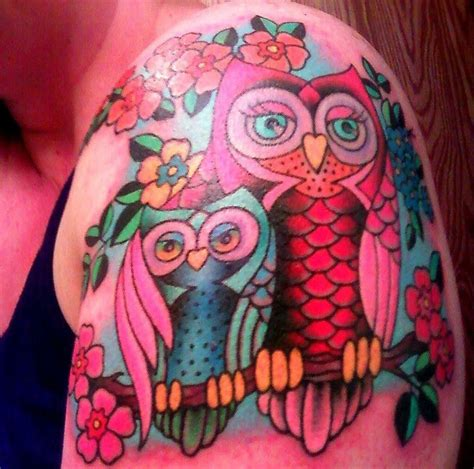 owl tattoo in color cute color owl tattoos real photo pictures images and