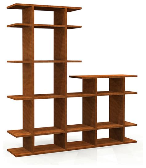 4 wide two tier bookshelf in pearwood contemporary
