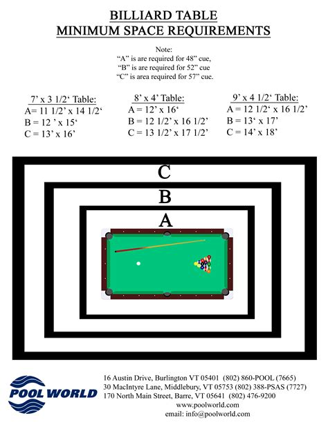 room dimensions for pool table room sizing chart pool world