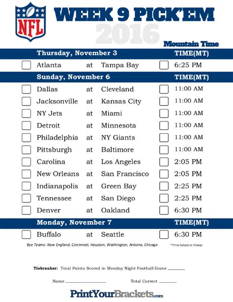 printable nfl schedule by week 2015 mountain time week 9 nfl schedule 2016 printable