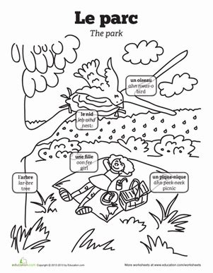 coloring pages with french words picnic in french worksheets picnics and language
