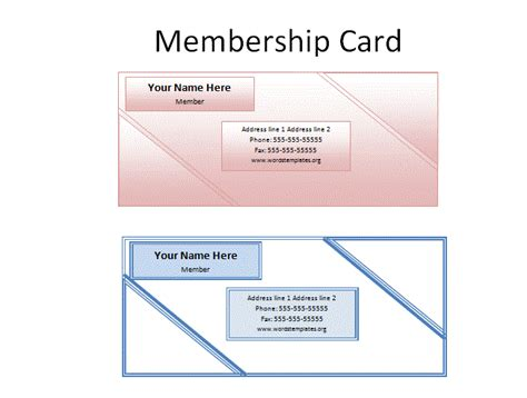template for membership cards free word templates
