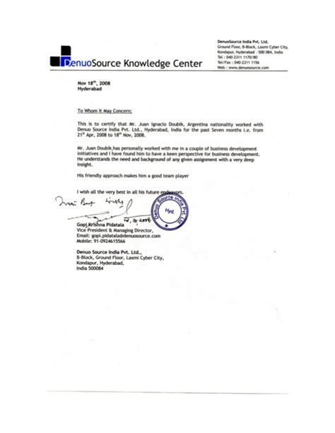 Recommendation Letter For Ceo Reference Letter Ceo Denuosource Ltd