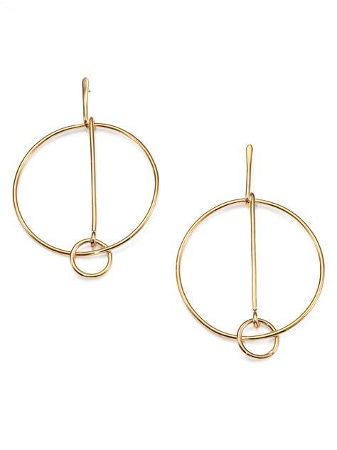 chlo 233 cate drop hoop earrings in metallic lyst