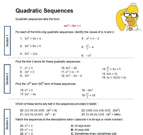 quadratic pattern questions quadratic sequences worksheet solve my maths