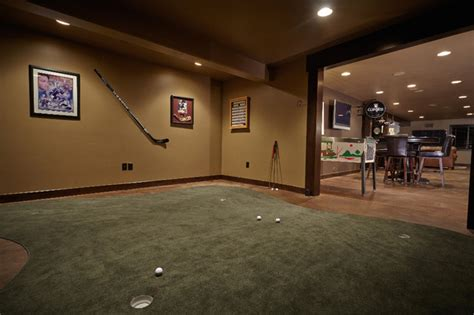 indoor putting greens basement traditional with room