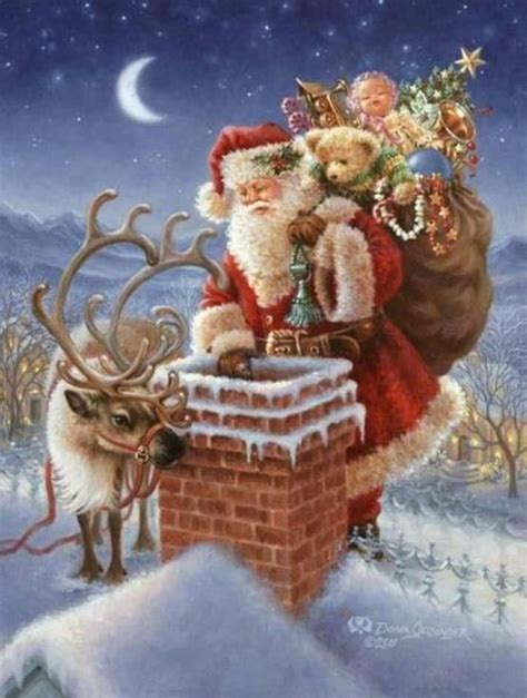 santa claus up on the rooftop christmas cards
