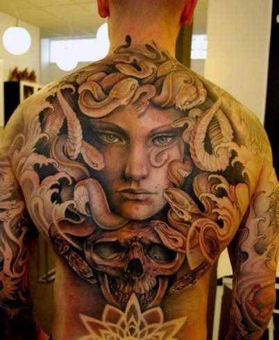 massive tattoo painted creepy evil medusa with skull