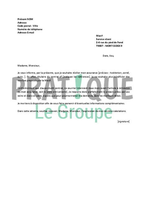 Lettre De R Siliation Un Contrat D Assurance Auto resiliation assurance auto modele lettre de resiliation n