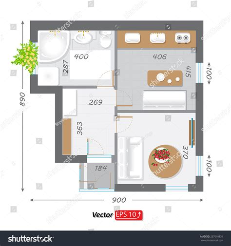 parts of a floor plan part architectural project ground floor plan stock vector