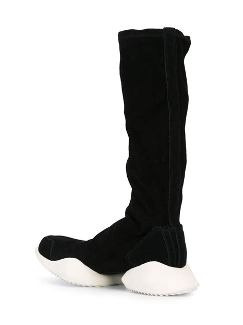 rick owens tech runner leather knee high boots in black lyst