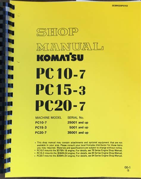 komatsu pc  pc  pc  hydraulic excavator service shop repair manual book finney
