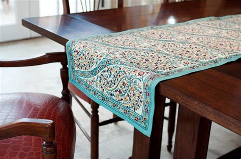 turquoise paisley table runner   fair trade