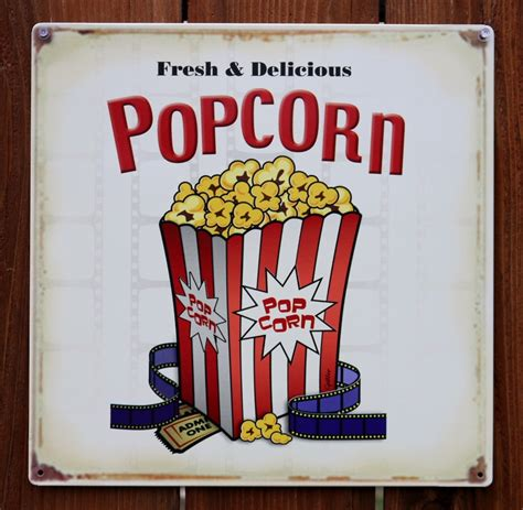 fresh delicious popcorn tin sign home  theater