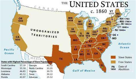 united states map of slavery civil war