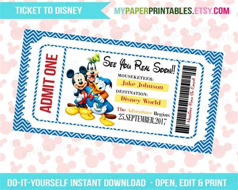 printable disneyland tickets printable ticket to disney diy personalize instant