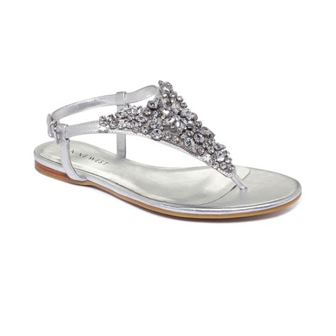 flat silver shoes nine west seahorse flat sandals in silver lyst