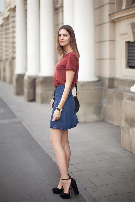denim skirt fashion agony daily outfits fashion