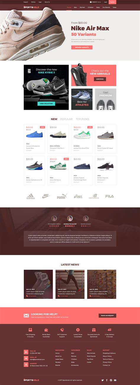 Sportshold Ecommerce Landing Page Template Psd Freebie Supply Create Free Landing Page Templates