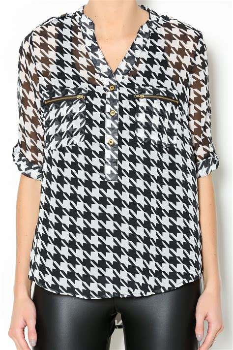 Blouse Houndstooth papermoon houndstooth pocket blouse from alabama by the right dress shoptiques