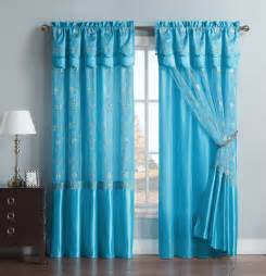 Curtains With Attached Valance Blue One Window Curtain Drapery Sheer Panel Attached Backing And Valance Ebay