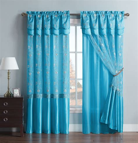 drapes with attached valance blue one piece window curtain drapery sheer panel