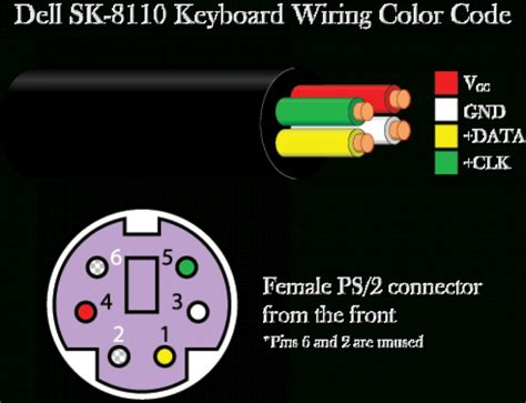 ps2 keyboard wire color code wiring diagram schemes