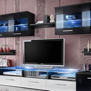meuble tv mural design quot zoom quot 250cm noir blanc
