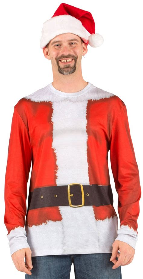 santa suit long sleeve tee shirt xl 2xl santa accessories
