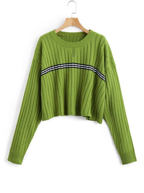 Panel Stripe Sweater oversized cropped stripes panel sweater green sweaters