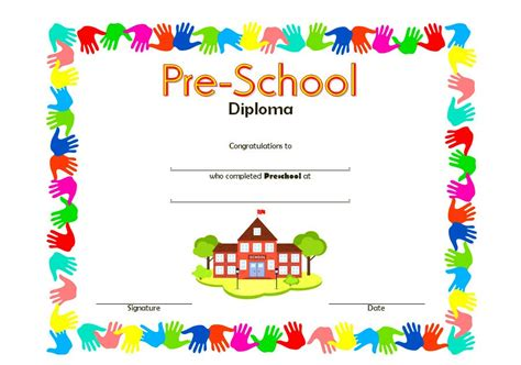 Preschool Graduation Diploma Template Free
