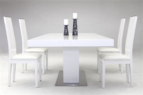 Zenith Modern White Extendable Dining Table Modern White Dining Table