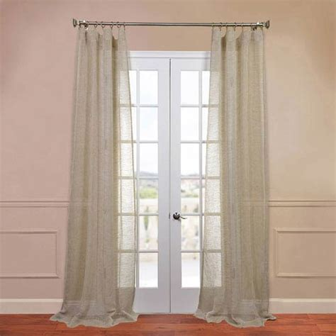 sheer curtains 96 inches long open weave natural 50 x 96 inch linen sheer curtain half