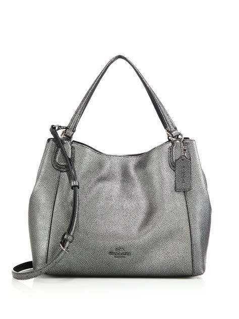 Leather Bb Gemini coach edie metallic pebbled leather shoulder bag in