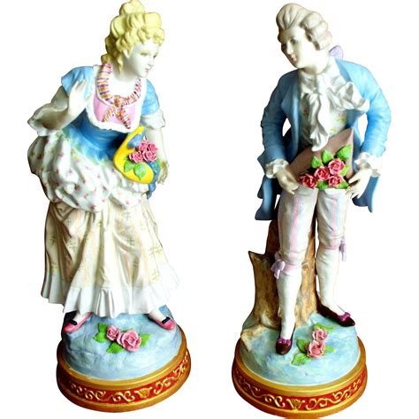 antique pair porcelain figurines 17 quot high