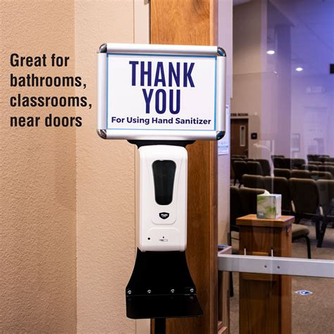 touchless hand sanitizer station  sign holder hardware church  outreach marketing
