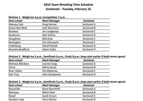Wiaa Sectionals by Wiaa Team Sectional Time Schedule February 16 Wisconsin