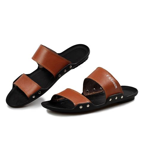mens comfortable sandals elegant fashion stylish genuine leather slide beach