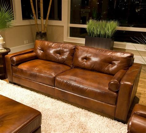 Distressed Leather Living Room Furniture Furniture Brown Distressed Leather Sofa With White