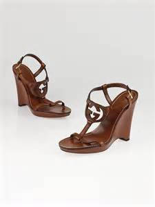 Gucci Wedges Brown gucci brown leather gg logo wedge sandals size 7 yoogi s closet