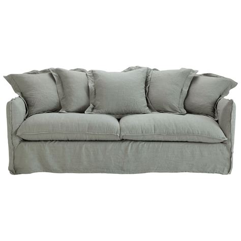 linen sofa bed 3 4 seater washed linen sofa bed in light grey barcelone