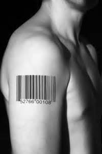 barcode tattoo shoulder man with right barcode tattoo on shoulder tattooshunt com