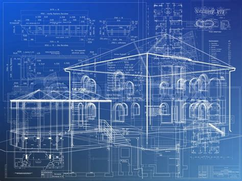 Blaupause Architektur Haus Plan Hintergrund Stockfoto Blueprint Of Mansion House