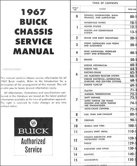 1967 buick chassis repair shop manual original all models