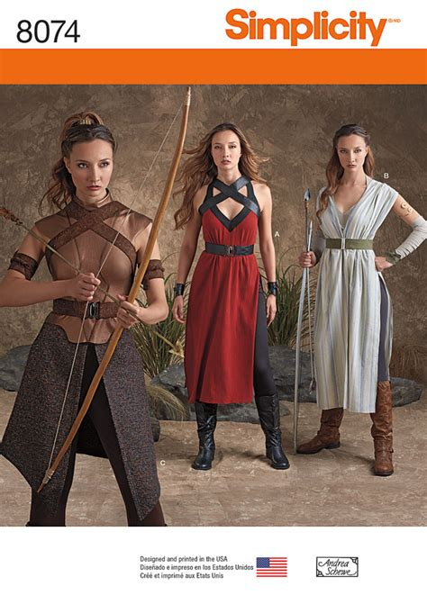 patterns sewing costumes simplicity 8074 misses warrior costumes