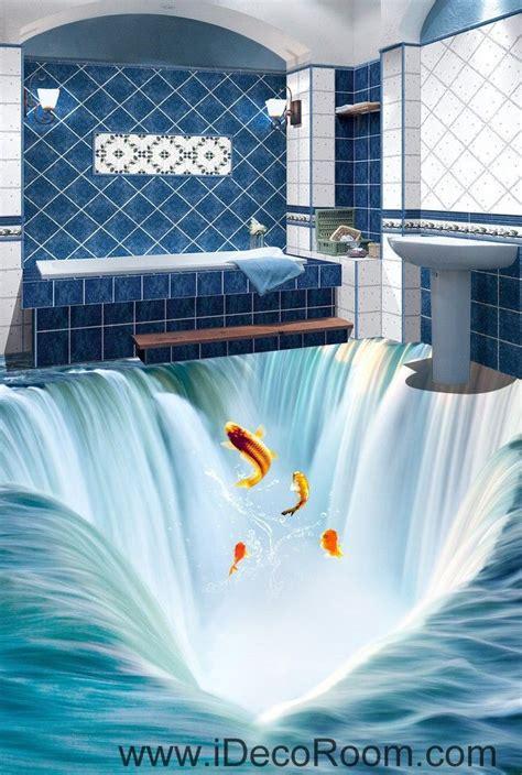 waterfall fish jumping  floor decals  wallpaper