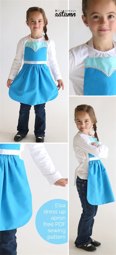 pattern for apron made from dress shirt free sewing pattern for elsa dress up apron it s always