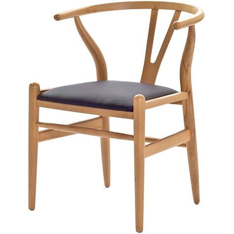 modern chair hans wegner wishbone chair with leatherette seat modern