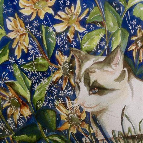 blue verditer signature watercolor paints jms5515 blue hida watercolor painting blue eyed cat in garden of