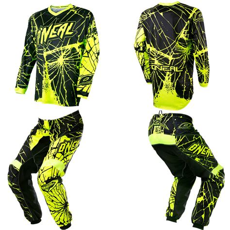 motocross pants and jersey oneal element enigma neon motocross off road dirtbike gear
